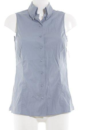 Wolford Mouwloze blouse azuur Webpatroon zakelijke stijl