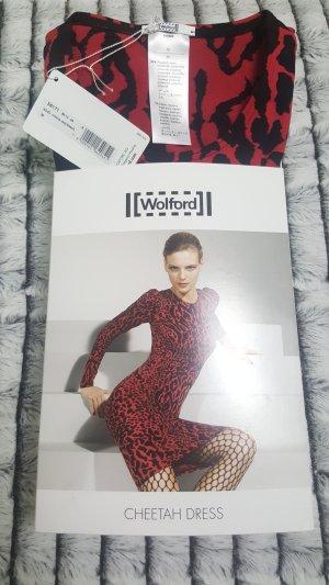 ~ WOLFORD ~ CHEETAH DRESS  ~ STRETCH  KLEID ~ BLACK/RED  Gr. M