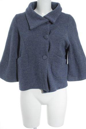 Blazer en laine bleu-gris clair motif en zigzag style classique
