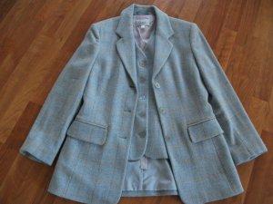 Woll Blazer mit passender Weste, Gr. 36, hellblau