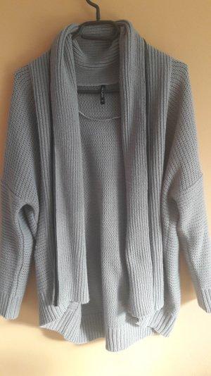 Woll cardigan im tollen Grauton und kunstlederrand
