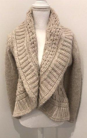 Essentials Crochet Cardigan beige alpaca wool