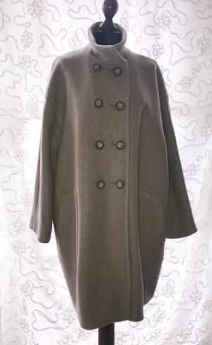 Cortefiel Abrigo de lana marrón grisáceo tejido mezclado