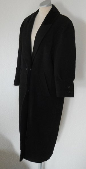 Woll Mantel lang Gr. UK 14 schwarz 40 42 M L gothic