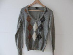 Woll-Pullover grau mit Karos