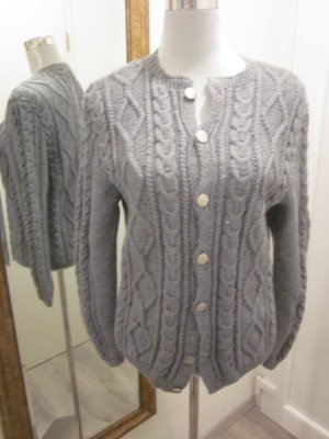 Knitted Vest pale blue wool