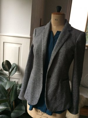 Zara Basic Wool Blazer dark grey-light grey wool