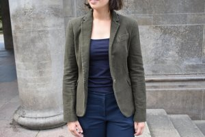Wollblazer in khaki/blau