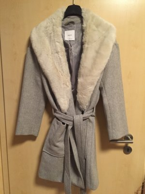 Mango Suit Abrigo de lana gris claro-color plata tejido mezclado