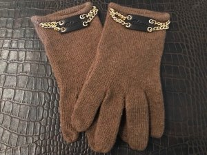 Gloves light brown-gold-colored wool