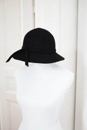 Wollhut Hut aus 100% Wolle schwarz Vintage Stil Look Winter warm