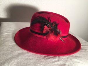 Cappello di lana rosso-nero Lana