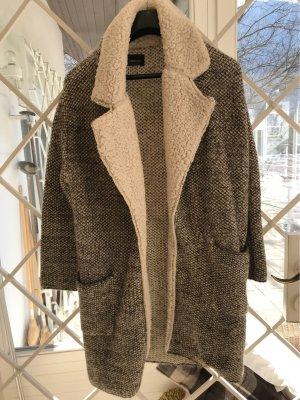 Zara Knit Wool Jacket dark brown-natural white