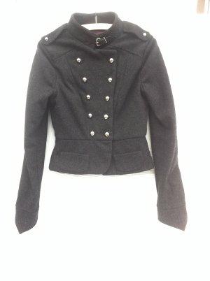 Wolljacke anthrazit grau Military Jacke Zweireiher