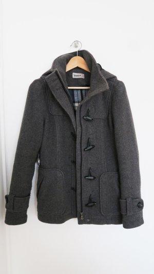 Wolljacke Dufflecoat mit Kapuze grau warm