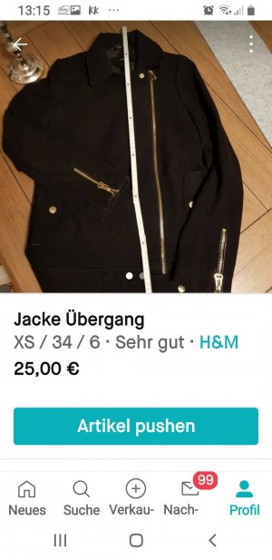 H&M Wollen Jack zwart