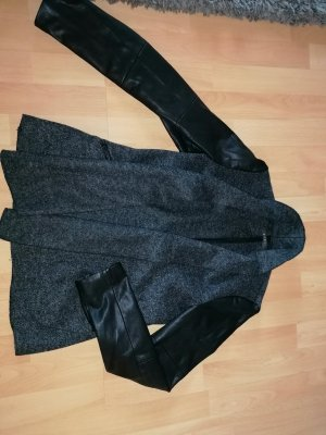 esprit collection Veste en cuir noir-gris