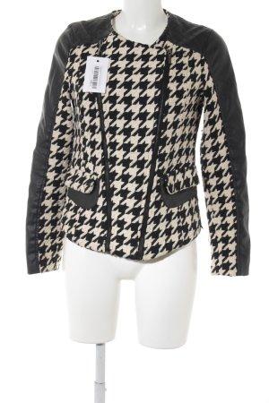 Chaqueta de lana negro-crema estampado de pata de gallo look casual