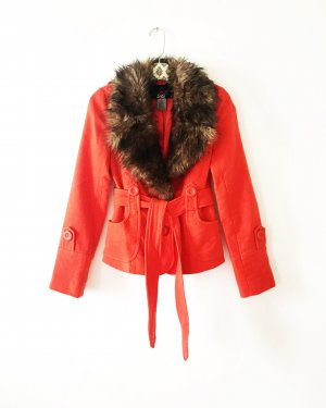 wolljacke / vintage / fake fur / orange / boho / edgy / hippie