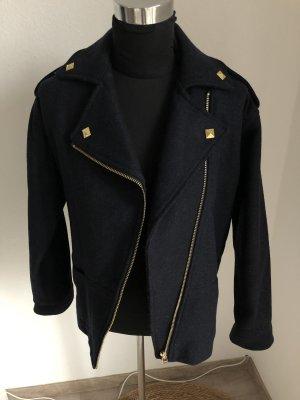 Mango Suit Chaqueta de lana azul oscuro-color oro