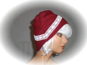Fabric Hat dark red-white wool