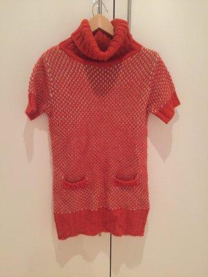 Surkana Robe en laine orange fluo-beige clair