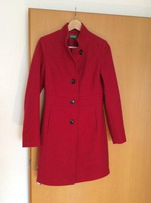 Benetton Abrigo de lana rojo neón Lana