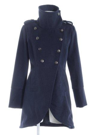 Cappotto in lana blu scuro stile casual