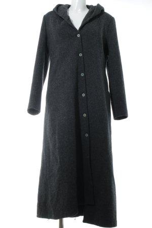 Cappotto in lana grigio scuro puntinato stile casual