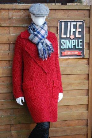 Manteau oversized rouge carmin laine alpaga