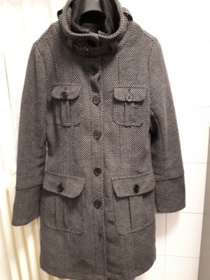 Wool Coat black-grey mixture fibre
