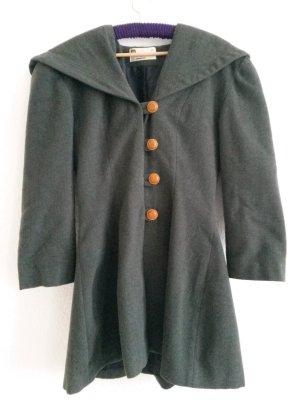 Wollmantel grüngrau Kapuze Vintage