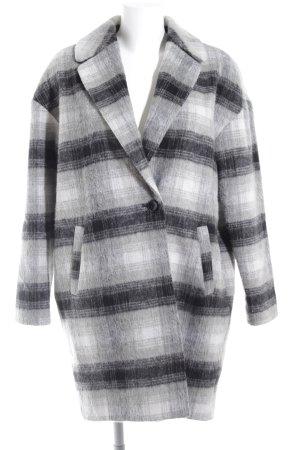 Wollen jas lichtgrijs-zwart geruite print