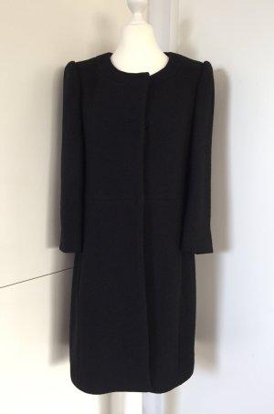 Schumacher Abrigo de lana negro-rosa tejido mezclado