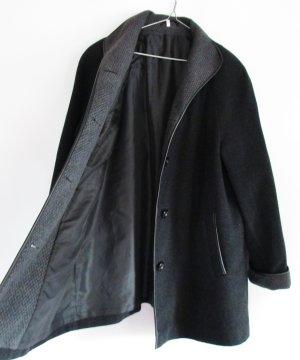 Wollmantel Mantel Schwarz Größe XL 44 Grau Wolle Lederpaspel Karo Stehkragen Kurzmantel Jacke Übergangsjacke