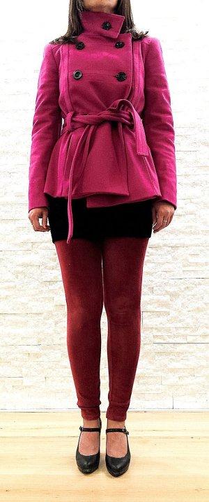 Wollmantel mit Gürtel und Stehkragen von Zara Basic in pink, Gr. M