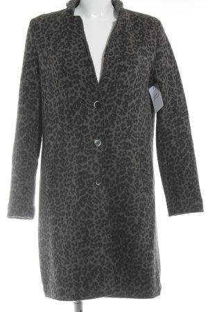 Abrigo de lana negro-marrón grisáceo estampado de leopardo look casual
