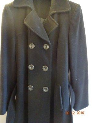 Wollmantel-Trenchcoat schwarz mit Bindegürtel