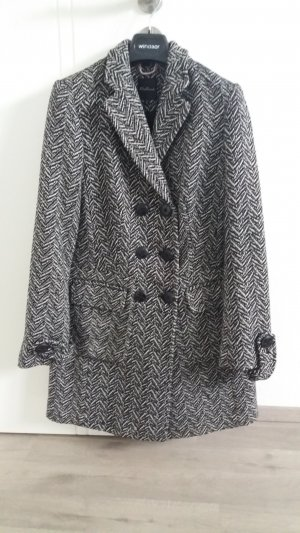 One Touch Cappotto in lana nero-bianco sporco