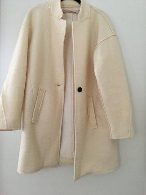 Zara Cappotto in lana bianco sporco-crema