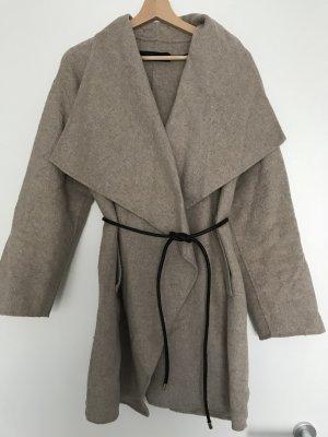 Zara Woman Cappotto in lana beige
