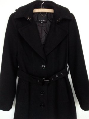 Amisu Heavy Pea Coat black cotton
