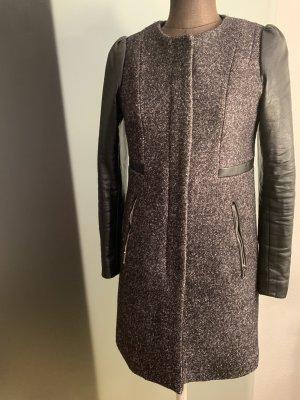 Wollmischung Mantel mit Kunstleder Details Gr 36 S von H&M
