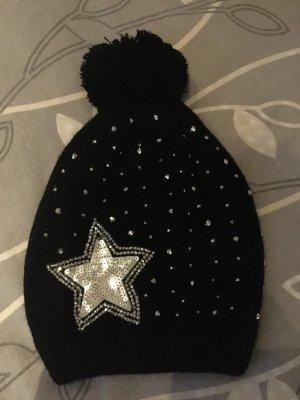 Sombrero de punto negro-color plata