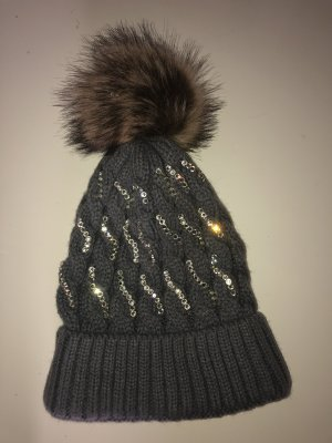 Knitted Hat silver-colored-grey