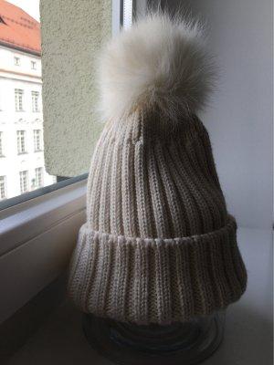 Made in Italy Sombrero de punto blanco puro