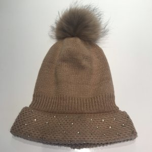 Bonnet à pompon marron clair