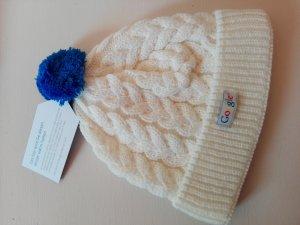 Chapeau en tricot crème-bleu laine