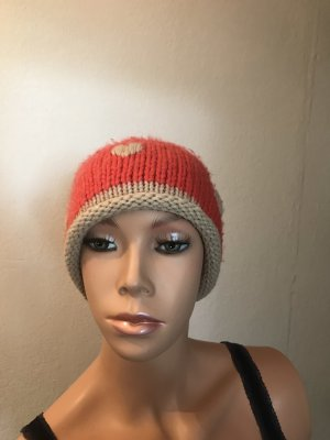 Beanie natural white-salmon cotton