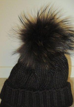 Knitted Hat dark brown mixture fibre